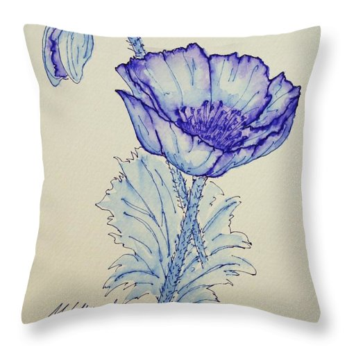 Poppy Throw Pillow featuring the drawing Oh Poppy by Marna Edwards Flavell
