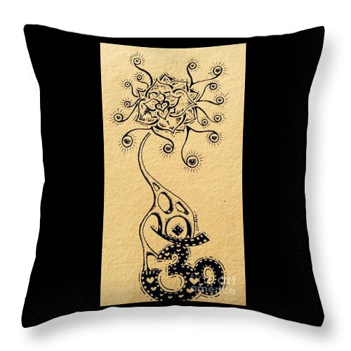 Ohm Throw Pillow featuring the drawing Ohm by Lowkey Luciano