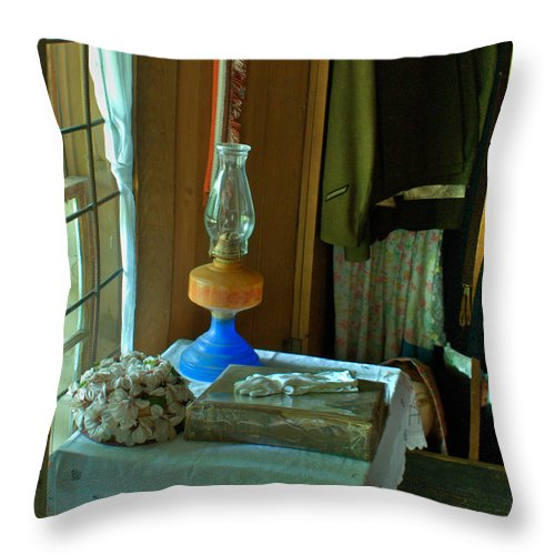 Oil Throw Pillow featuring the photograph Oil Lamp And Bible by Douglas Barnett