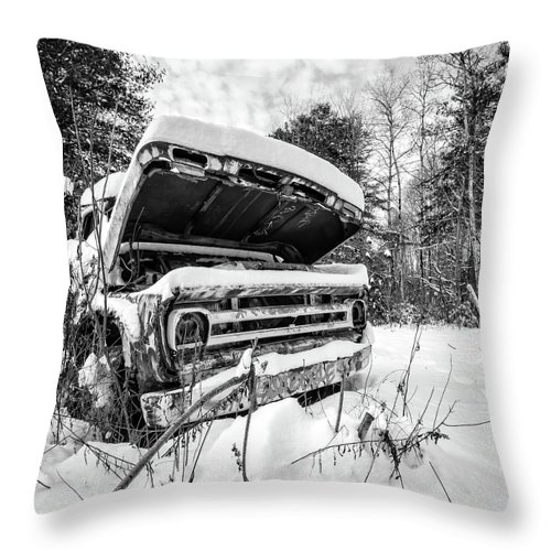 Newport Throw Pillow featuring the photograph Old Abandoned Pickup Truck In The Snow by Edward Fielding