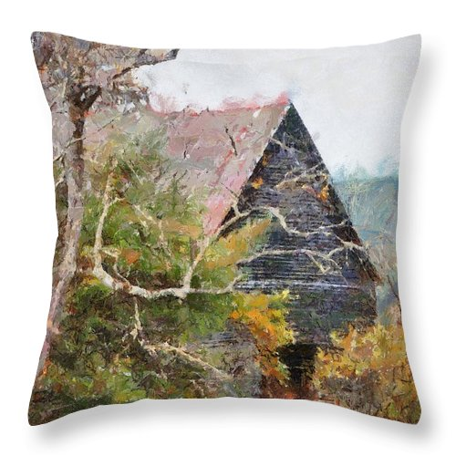 Landscape Throw Pillow featuring the digital art Old Barn At Cades Cove by Todd Blanchard