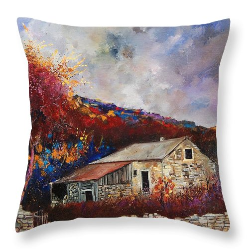 Village Throw Pillow featuring the painting Old barn by Pol Ledent
