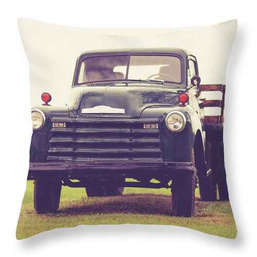 Truck Throw Pillow featuring the photograph Old Chevy Farm Truck In Vermont Square by Edward Fielding