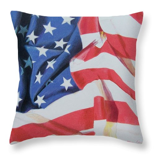 Flag Throw Pillow featuring the mixed media Old Glory by Constance Drescher