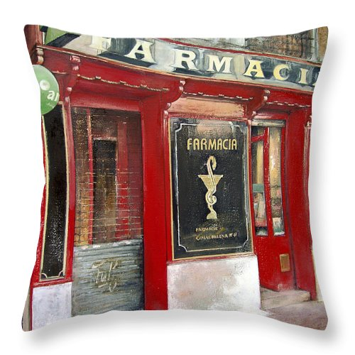Farmacia Throw Pillow featuring the painting Old Pharmacy by Tomas Castano