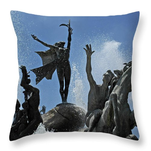 Statue Throw Pillow featuring the photograph Old San Juan Puerto Rico by Tito Santiago