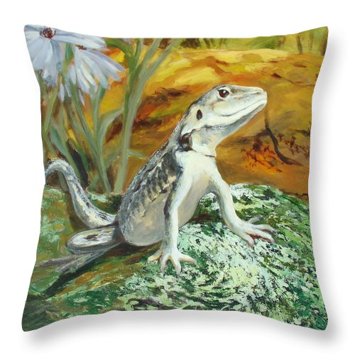 Nature Throw Pillow featuring the painting On Insect Patrol by Ekaterina Mortensen