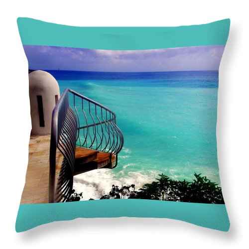 Seascapes Throw Pillow featuring the photograph On The Edge by Karen Wiles
