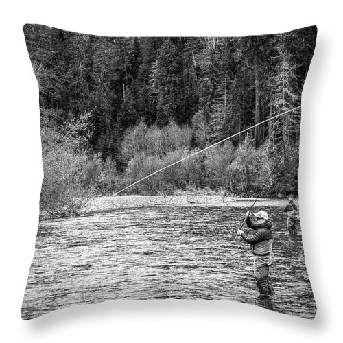 Flyfishing Throw Pillow featuring the photograph On the River by Jason Brooks