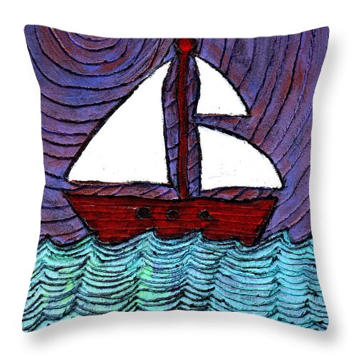 River Throw Pillow featuring the painting On The River by Wayne Potrafka