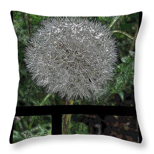 Flower Throw Pillow featuring the digital art One Dandy Lion 3 by Tim Allen