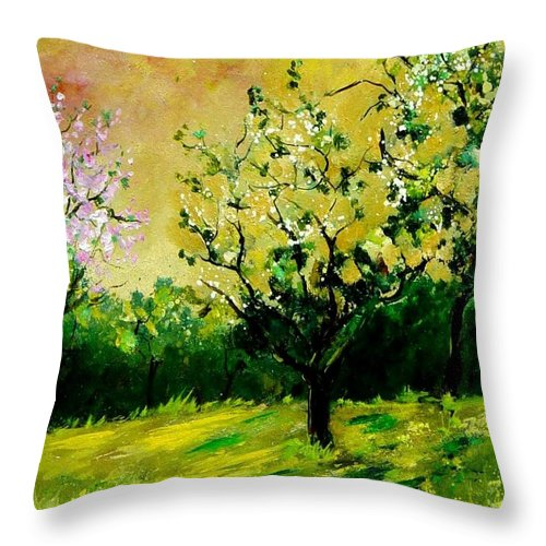 Landscape Throw Pillow featuring the painting Orchard by Pol Ledent