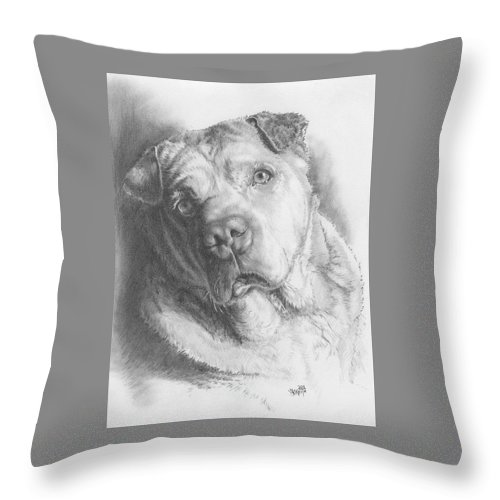 Mixed Breed Throw Pillow featuring the drawing Maxie by Barbara Keith