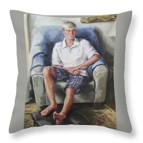 Teenage Boy Throw Pillow featuring the painting Owen Mcguire by Pamela Nichols
