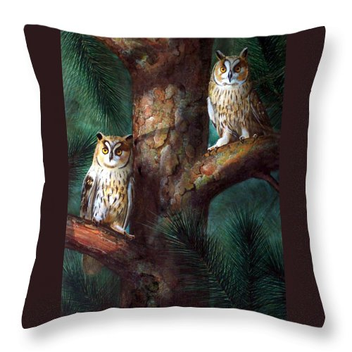 Wildlife Throw Pillow featuring the painting Owls In Moonlight by Frank Wilson