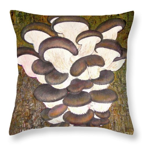 Mushroom Throw Pillow featuring the painting Oyster Mushroom by Yoseph Abate