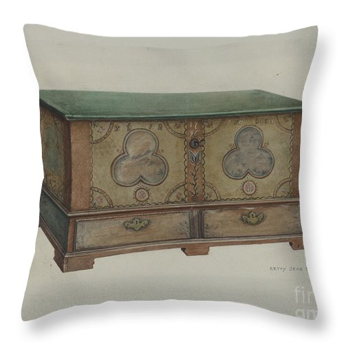 Throw Pillow featuring the drawing Pa. German Chest by Betty Jean Davis