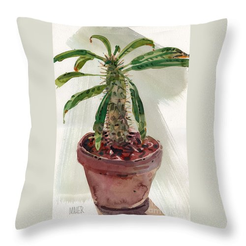 Euphorbia Throw Pillow featuring the painting Pachypodium by Donald Maier