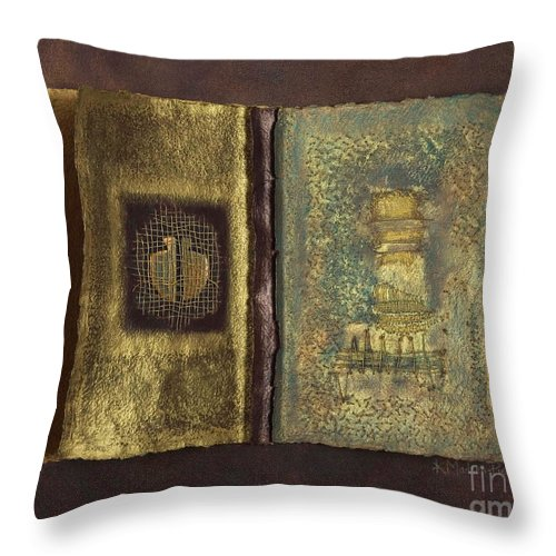 Artist-book Throw Pillow featuring the mixed media Page Format No 1 Transitional Series by Kerryn Madsen-Pietsch