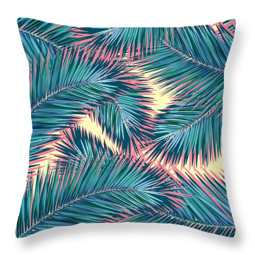 Summer Throw Pillow featuring the digital art Palm Trees by Mark Ashkenazi