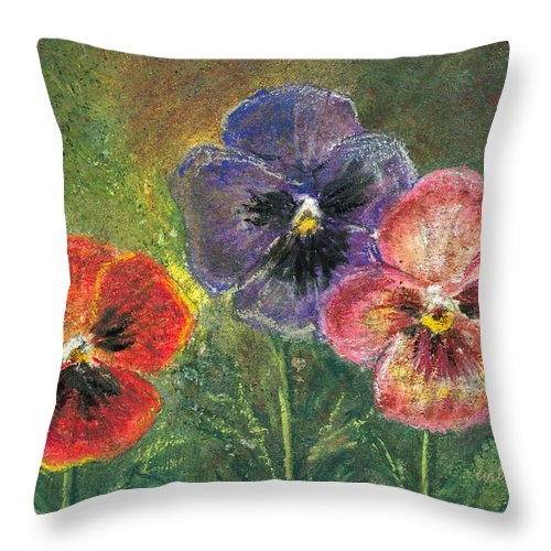 Pansy Throw Pillow featuring the mixed media Pansies by Arline Wagner