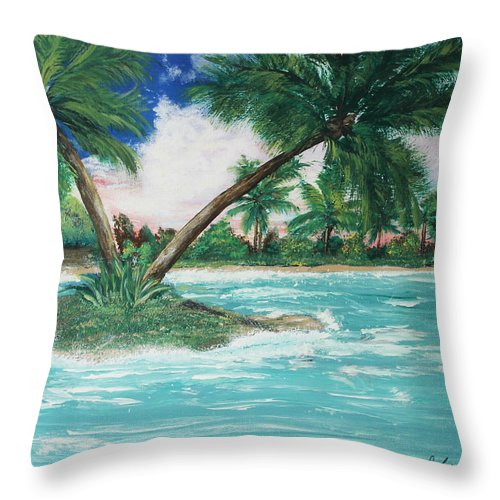 Island Throw Pillow featuring the painting Paradise Island by Debbie Levene