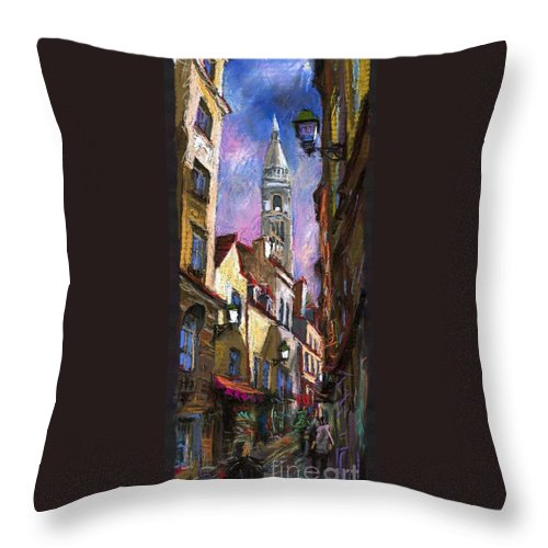 Pastel Throw Pillow featuring the painting Paris Montmartre by Yuriy Shevchuk