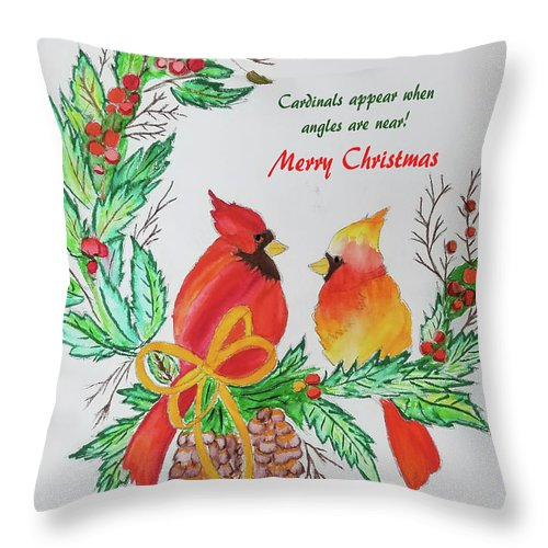 Throw Pillow featuring the painting Cardinals Painted Pat Napper by Pat Napper