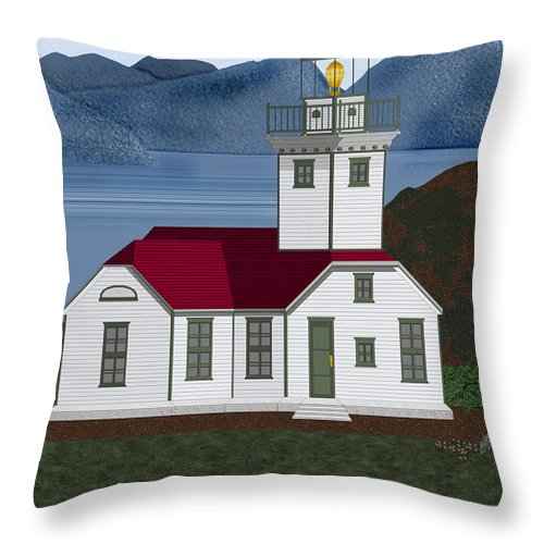 Patos Island Lighthouse Throw Pillow featuring the painting Patos Island Lighthouse by Anne Norskog