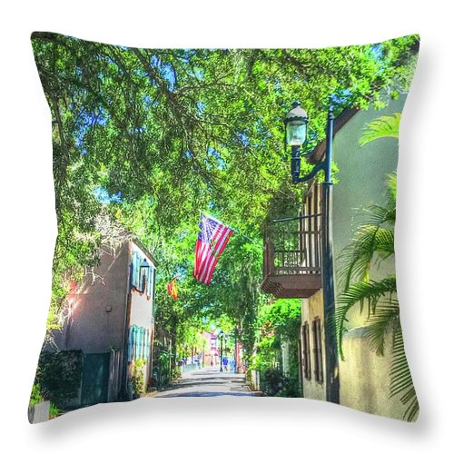 Flag Throw Pillow featuring the photograph Patriotic Street by Debbi Granruth