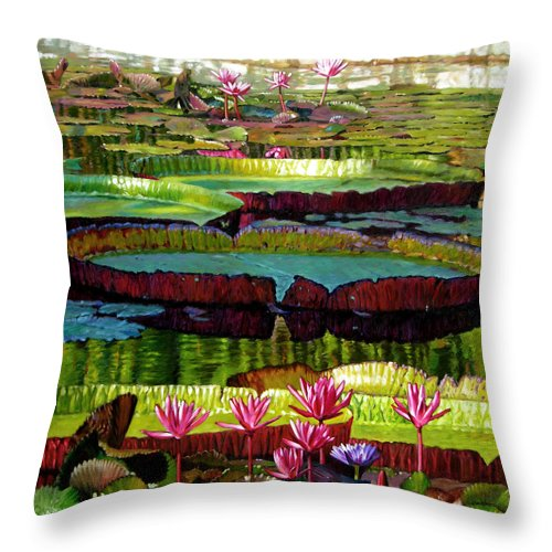 Landscape Throw Pillow featuring the painting Patterns Of Shadow And Sunlight by John Lautermilch