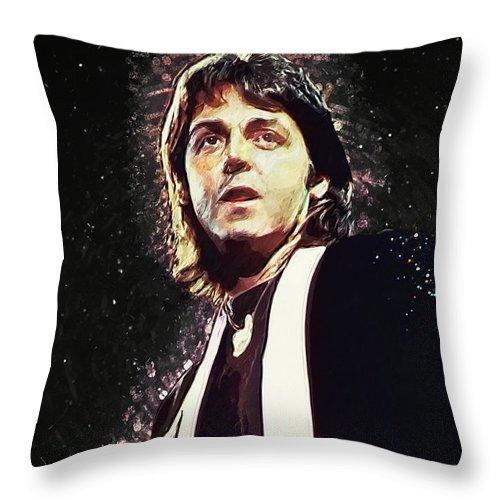 Paul Mccartney Throw Pillow featuring the digital art Paul McCartney by Zapista OU