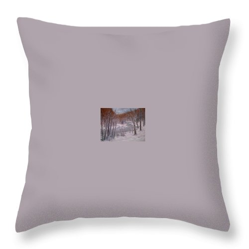 Snow; Landscape Throw Pillow featuring the painting Peace And Quiet by Ben Kiger