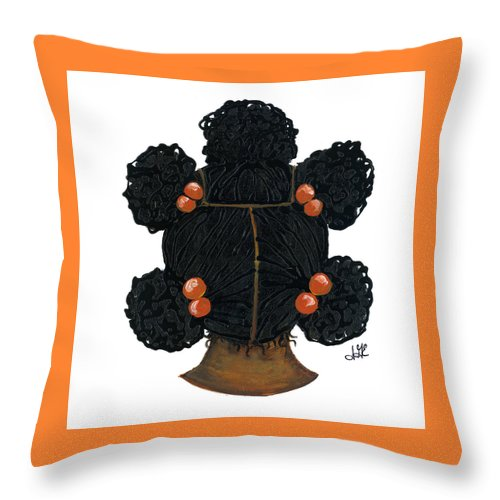 Naturally Me Kidz Throw Pillow featuring the painting Peaches by Sonja Griffin Evans