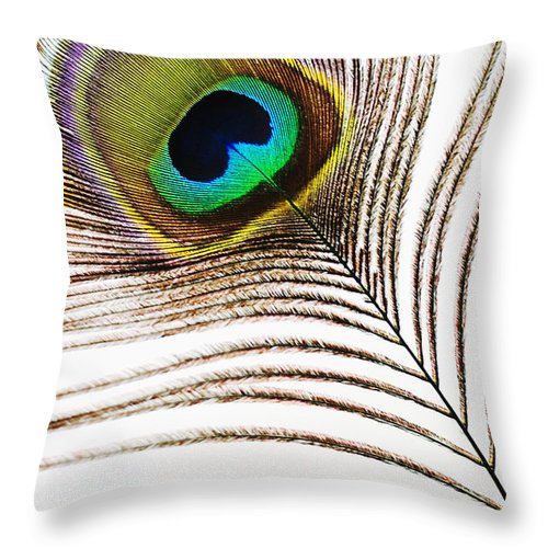 Abstract Throw Pillow featuring the photograph Peacock Feathers by Mary Van de Ven - Printscapes