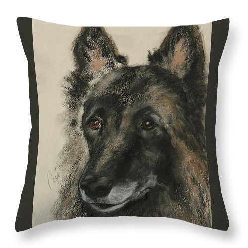 Pastel Throw Pillow featuring the mixed media Peaked Interest by Cori Solomon