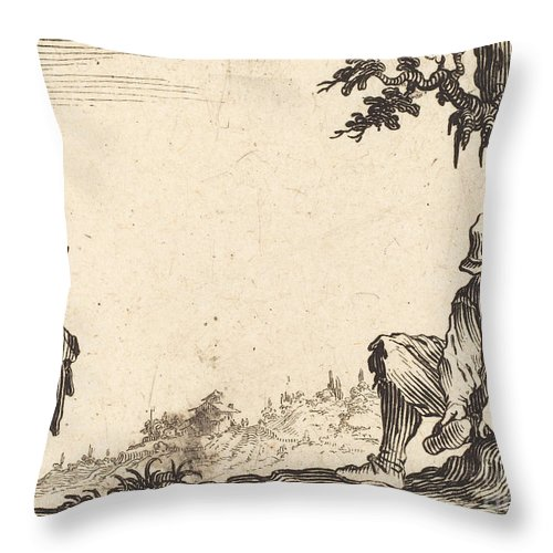 Throw Pillow featuring the drawing Peasant Removing His Shoe by Jacques Callot