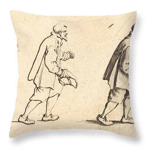 Throw Pillow featuring the drawing Peasant With Hat In Hand by Jacques Callot