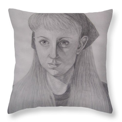 Artist Throw Pillow featuring the drawing Pencil Self Portrait by Emily Young