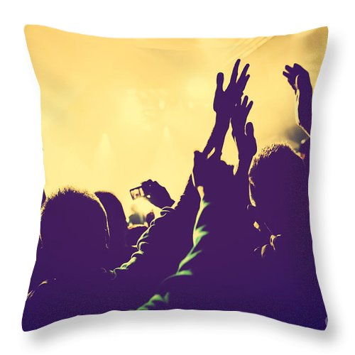 Concert Throw Pillow featuring the photograph People With Hands Up In Night Club by Michal Bednarek