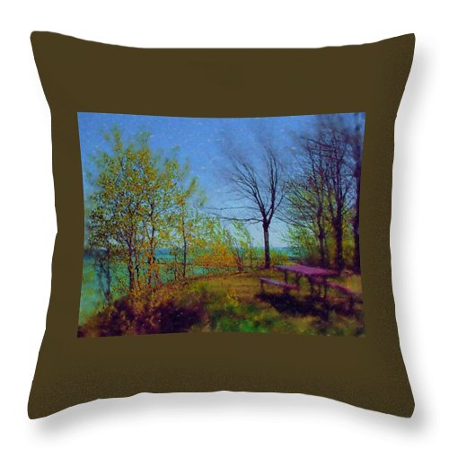 Lake Throw Pillow featuring the digital art Picnic Table By The Lake by Anita Burgermeister