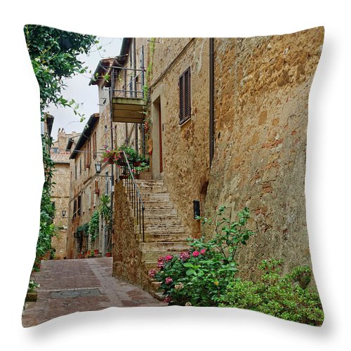 Narrow Pedestrian Street Throw Pillow featuring the photograph Pienza Street by Sally Weigand
