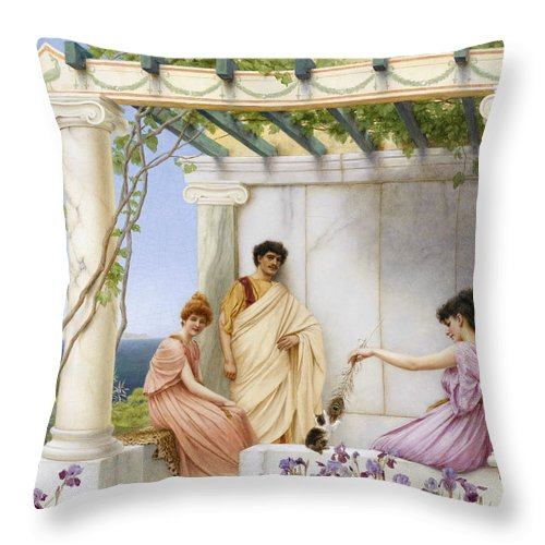 19th Century Art Throw Pillow featuring the painting Playtime by John William Godward