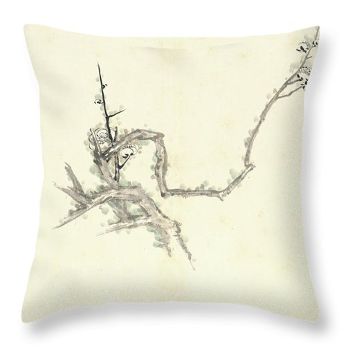 Plum Blossom Throw Pillow featuring the painting Plum Blossom by Zhang Daqian