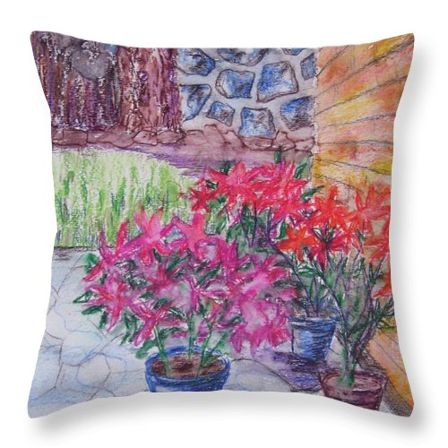 Poinsettias Throw Pillow featuring the painting Poinsettias - Gifted by Judith Espinoza