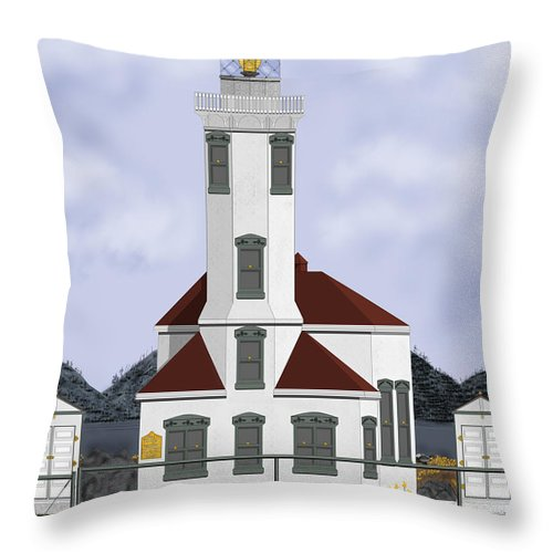 Lighthouse Throw Pillow featuring the painting Point Wilson Lighthouse by Anne Norskog