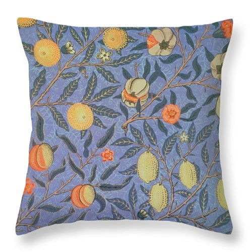 Artistic Throw Pillow featuring the painting Pomegranate by William Morris