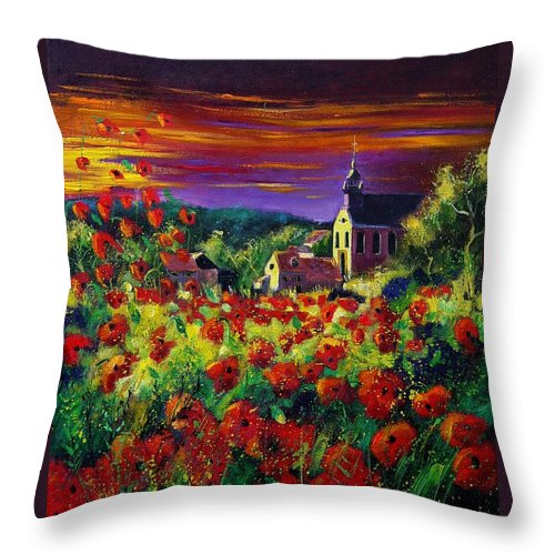 Flowers Throw Pillow featuring the painting Poppies In Foy by Pol Ledent