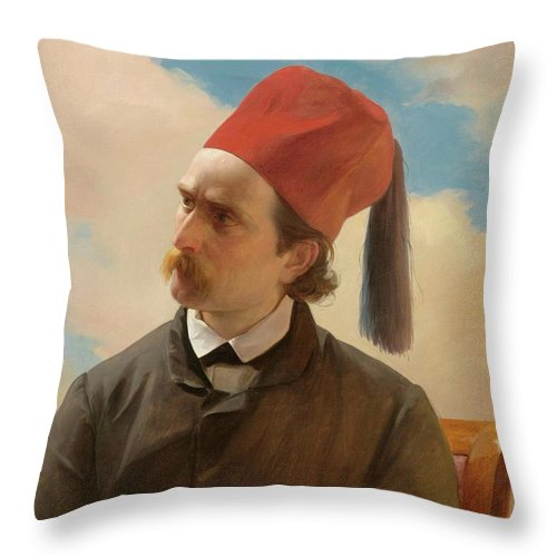 French School Throw Pillow featuring the painting Portrait Of A Scholar by MotionAge Designs