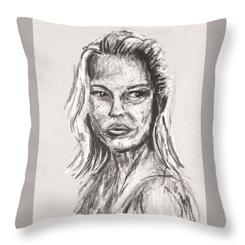 Beauty Throw Pillow featuring the drawing Portrait Of A Woman by Robert Yaeger